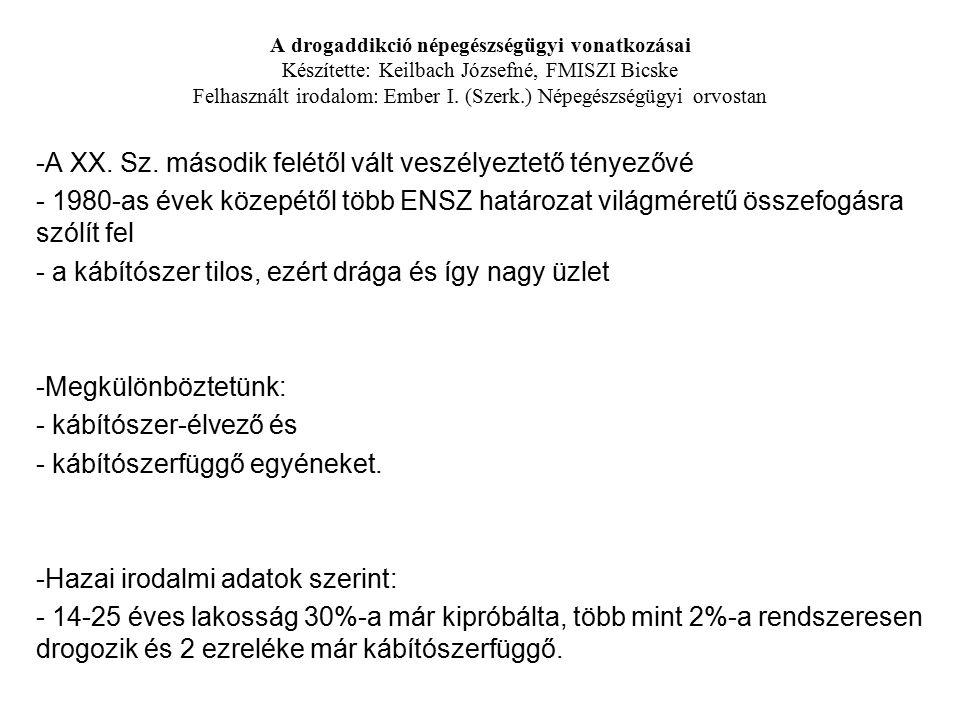 A drogaddikció népegészségügyi vonatkozásai Készítette: Keilbach Józsefné, FMISZI Bicske Felhasznált irodalom: Ember I. (Szerk.) Népegészségügyi orvos