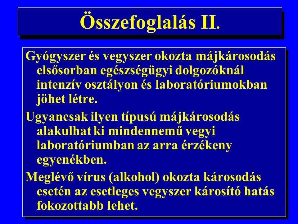 Összefoglalás I. A hepatitis vírusok mindegyike létrehozhat akut megbetegedést.