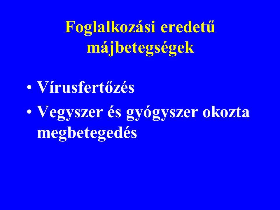 A májbetegség kóroki tényezői Vírusfertőzés Vegyszer és gyógyszer okozta megbetegedés (pl.