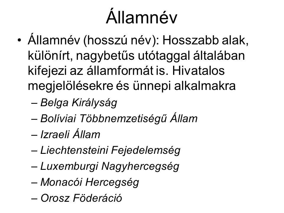 Államnév Államnév (hosszú név): Hosszabb alak, különírt, nagybetűs utótaggal általában kifejezi az államformát is. Hivatalos megjelölésekre és ünnepi