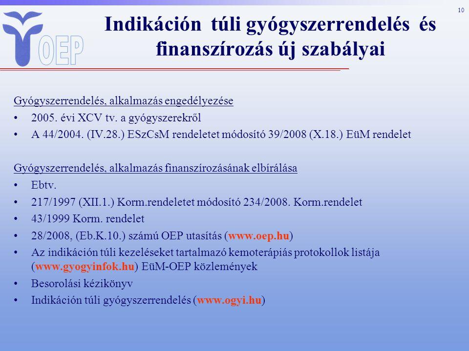 10 Gyógyszerrendelés, alkalmazás engedélyezése 2005.