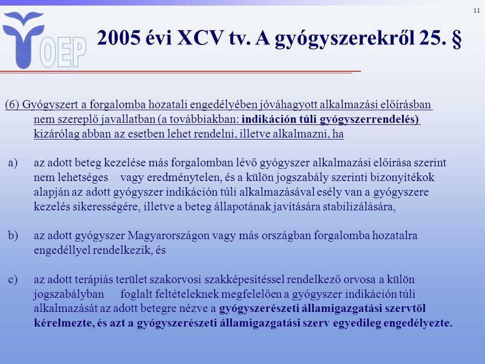 11 2005 évi XCV tv. A gyógyszerekről 25.