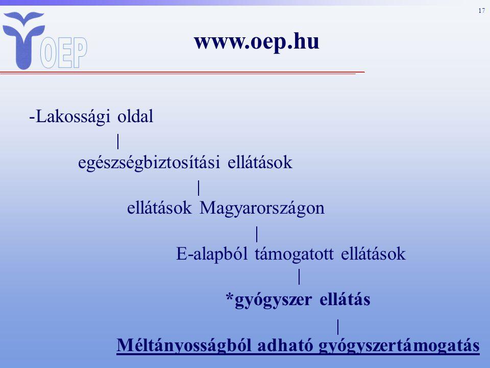 17 www.oep.hu -Lakossági oldal egészségbiztosítási ellátások ellátások Magyarországon E-alapból támogatott ellátások *gyógyszer ellátás Méltányosságból adható gyógyszertámogatás