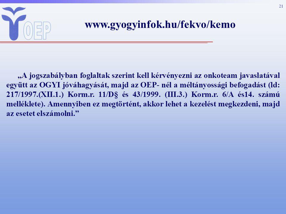 """21 www.gyogyinfok.hu/fekvo/kemo """"A jogszabályban foglaltak szerint kell kérvényezni az onkoteam javaslatával együtt az OGYI jóváhagyását, majd az OEP- nél a méltányossági befogadást (ld: 217/1997.(XII.1.) Korm.r."""