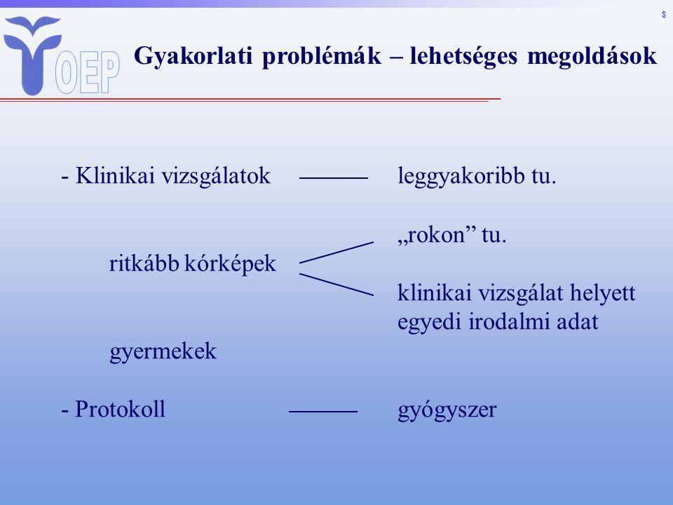 8 Gyakorlati problémák – lehetséges megoldások - Klinikai vizsgálatokleggyakoribb tu.