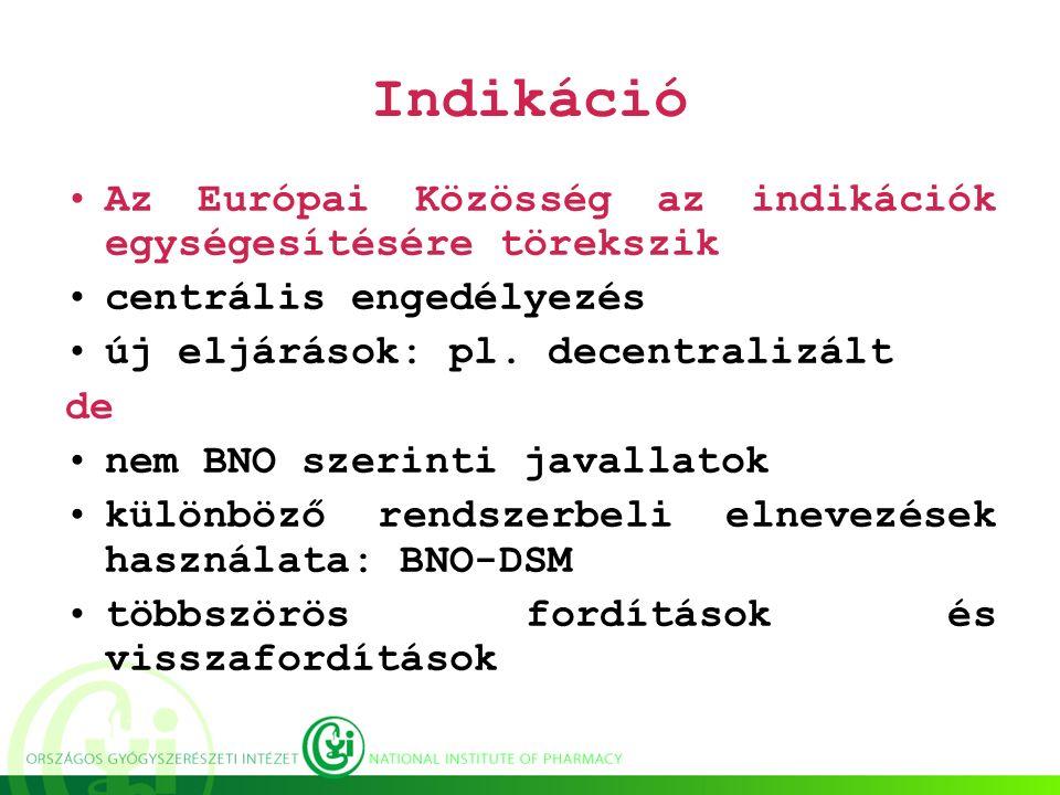 Indikáció Az Európai Közösség az indikációk egységesítésére törekszik centrális engedélyezés új eljárások: pl.