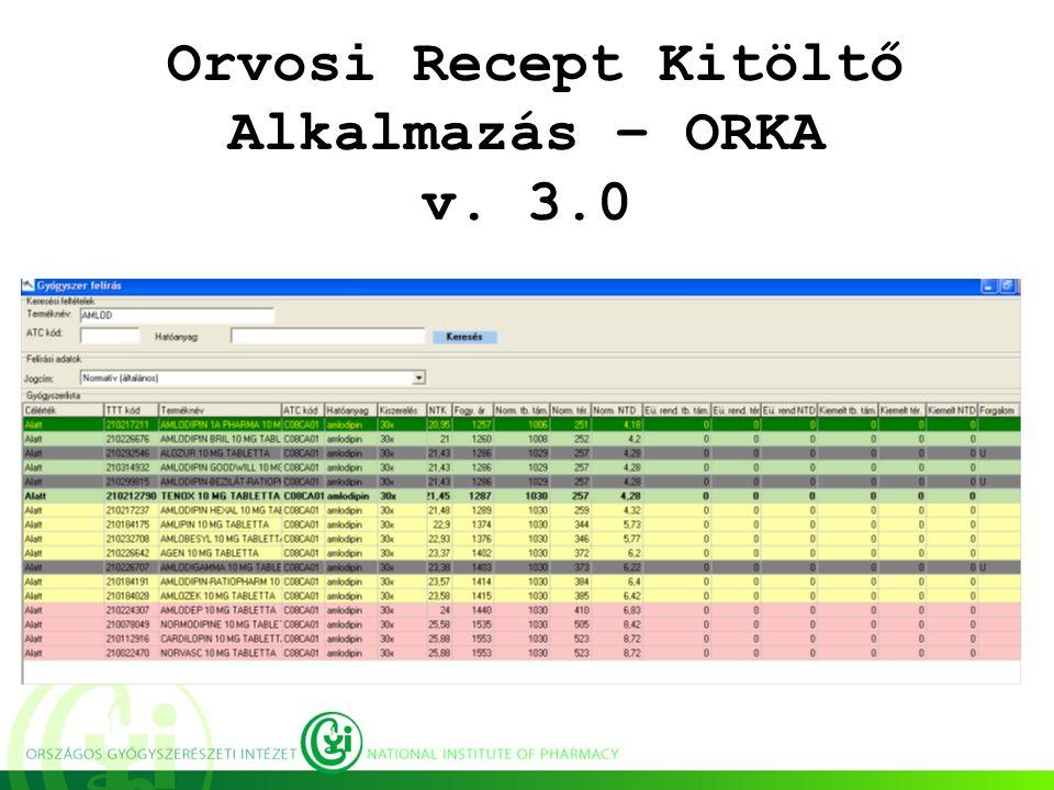 Orvosi Recept Kitöltő Alkalmazás – ORKA v. 3.0