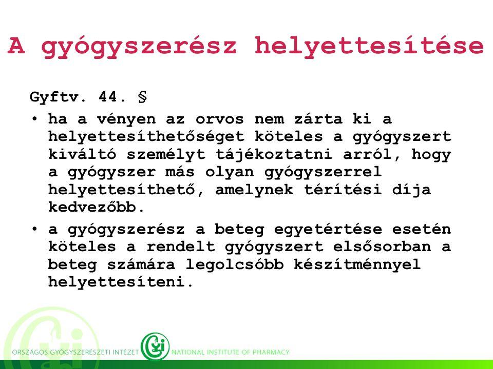 A gyógyszerész helyettesítése Gyftv. 44.