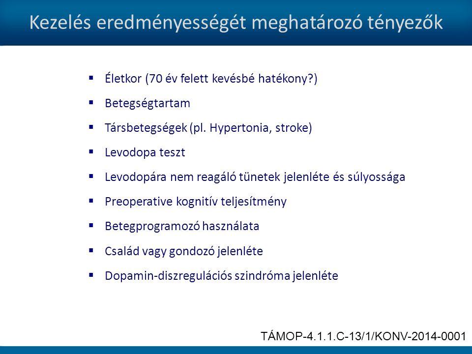 Kezelés eredményességét meghatározó tényezők  Életkor (70 év felett kevésbé hatékony?)  Betegségtartam  Társbetegségek (pl.