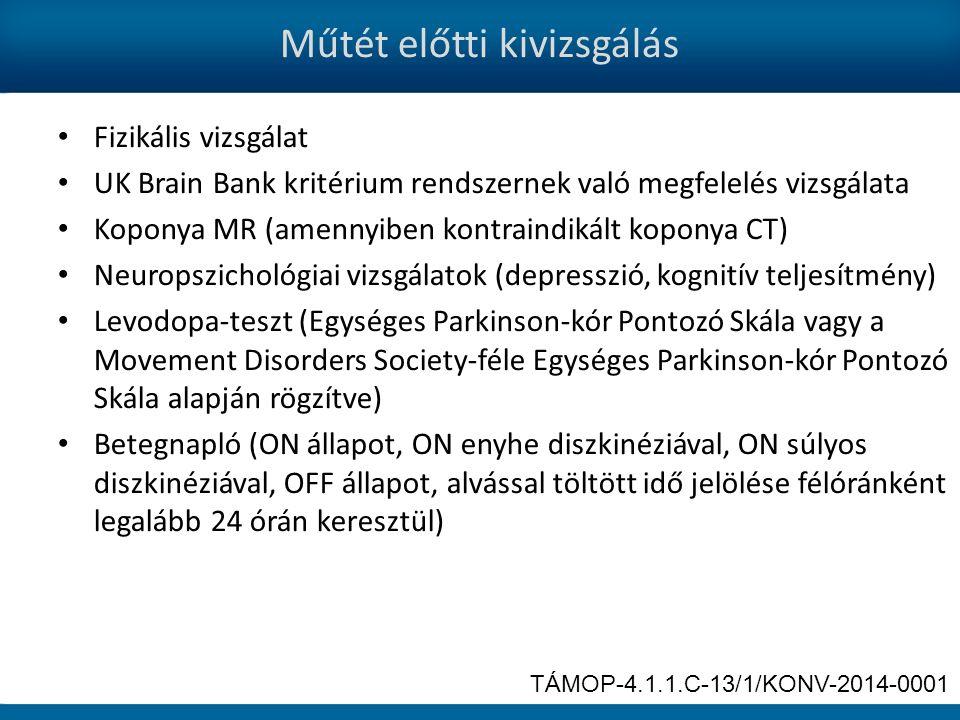Műtét előtti kivizsgálás Fizikális vizsgálat UK Brain Bank kritérium rendszernek való megfelelés vizsgálata Koponya MR (amennyiben kontraindikált koponya CT) Neuropszichológiai vizsgálatok (depresszió, kognitív teljesítmény) Levodopa-teszt (Egységes Parkinson-kór Pontozó Skála vagy a Movement Disorders Society-féle Egységes Parkinson-kór Pontozó Skála alapján rögzítve) Betegnapló (ON állapot, ON enyhe diszkinéziával, ON súlyos diszkinéziával, OFF állapot, alvással töltött idő jelölése félóránként legalább 24 órán keresztül) TÁMOP-4.1.1.C-13/1/KONV-2014-0001