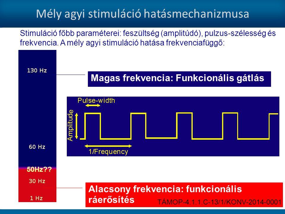 Magas frekvencia: Funkcionális gátlás Alacsony frekvencia: funkcionális ráerősítés Mély agyi stimuláció hatásmechanizmusa 50Hz?.