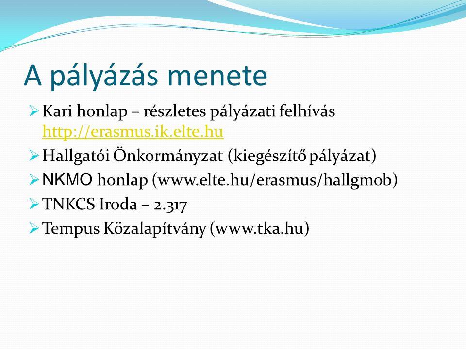 A pályázás menete  Kari honlap – részletes pályázati felhívás http://erasmus.ik.elte.hu http://erasmus.ik.elte.hu  Hallgatói Önkormányzat (kiegészítő pályázat)  NKMO honlap (www.elte.hu/erasmus/hallgmob)  TNKCS Iroda – 2.317  Tempus Közalapítvány (www.tka.hu)