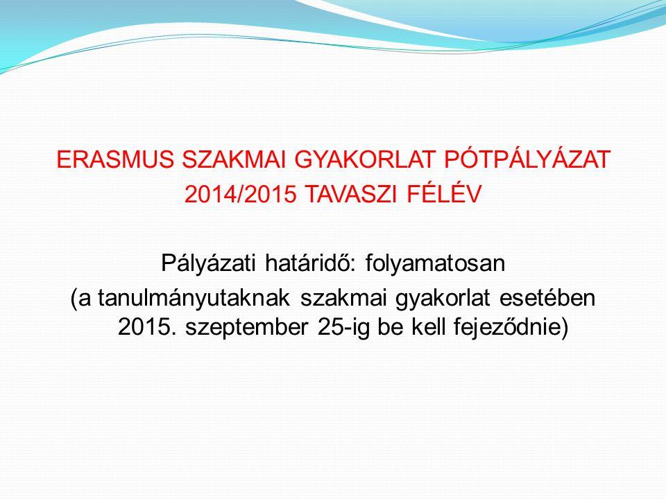 ERASMUS SZAKMAI GYAKORLAT PÓTPÁLYÁZAT 2014/2015 TAVASZI FÉLÉV Pályázati határidő: folyamatosan (a tanulmányutaknak szakmai gyakorlat esetében 2015.