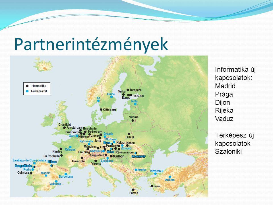Partnerintézmények Informatika új kapcsolatok: Madrid Prága Dijon Rijeka Vaduz Térképész új kapcsolatok Szaloniki