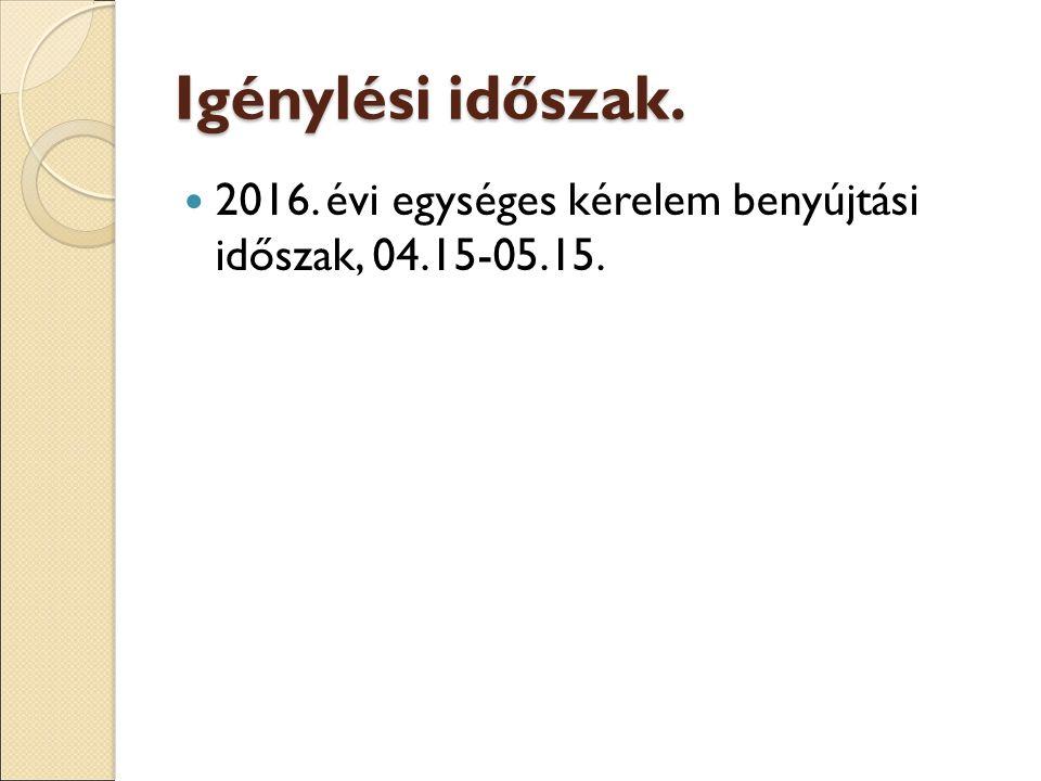 Igénylési időszak. 2016. évi egységes kérelem benyújtási időszak, 04.15-05.15.