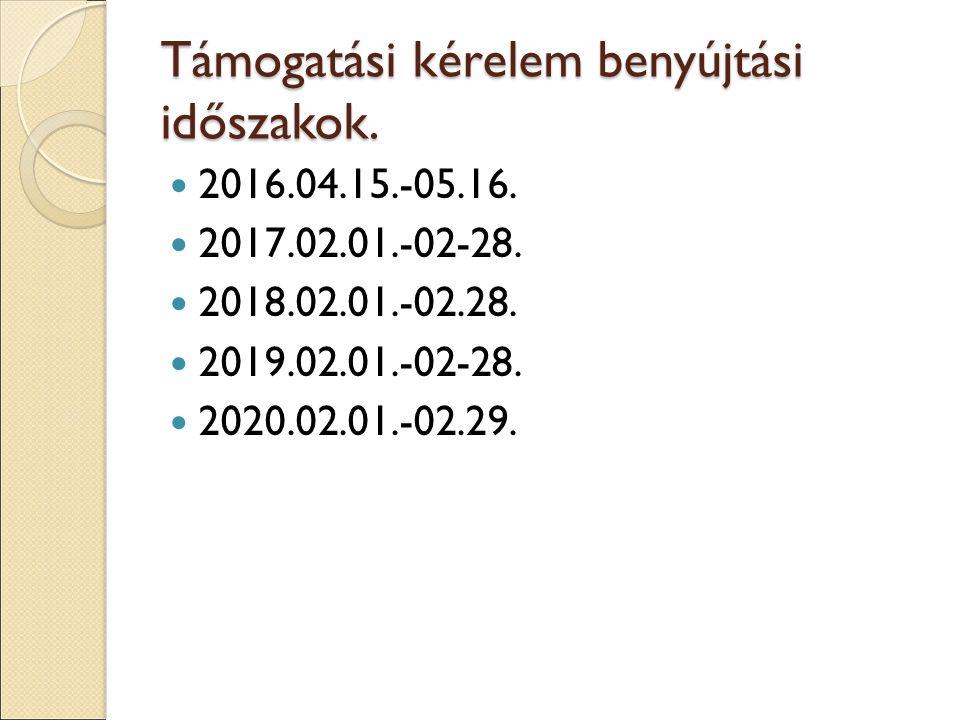 Támogatási kérelem benyújtási időszakok. 2016.04.15.-05.16. 2017.02.01.-02-28. 2018.02.01.-02.28. 2019.02.01.-02-28. 2020.02.01.-02.29.