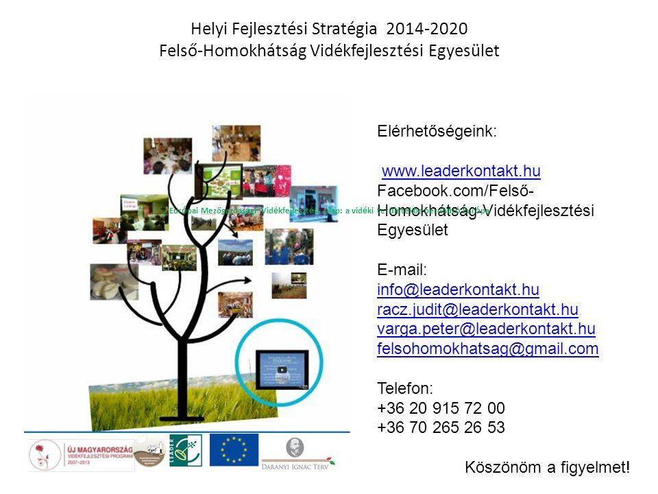 Elérhetőségeink: www.leaderkontakt.hu Facebook.com/Felső- Homokhátság-Vidékfejlesztési Egyesület E-mail: info@leaderkontakt.hu racz.judit@leaderkontak