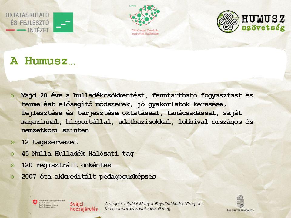 A Humusz… »Majd 20 éve a hulladékcsökkentést, fenntartható fogyasztást és termelést elősegítő módszerek, jó gyakorlatok keresése, fejlesztése és terjesztése oktatással, tanácsadással, saját magazinnal, hírportállal, adatbázisokkal, lobbival országos és nemzetközi szinten »12 tagszervezet »45 Nulla Hulladék Hálózati tag »120 regisztrált önkéntes »2007 óta akkreditált pedagógusképzés A projekt a Svájci-Magyar Együttműködési Program társfinanszírozásával valósult meg.