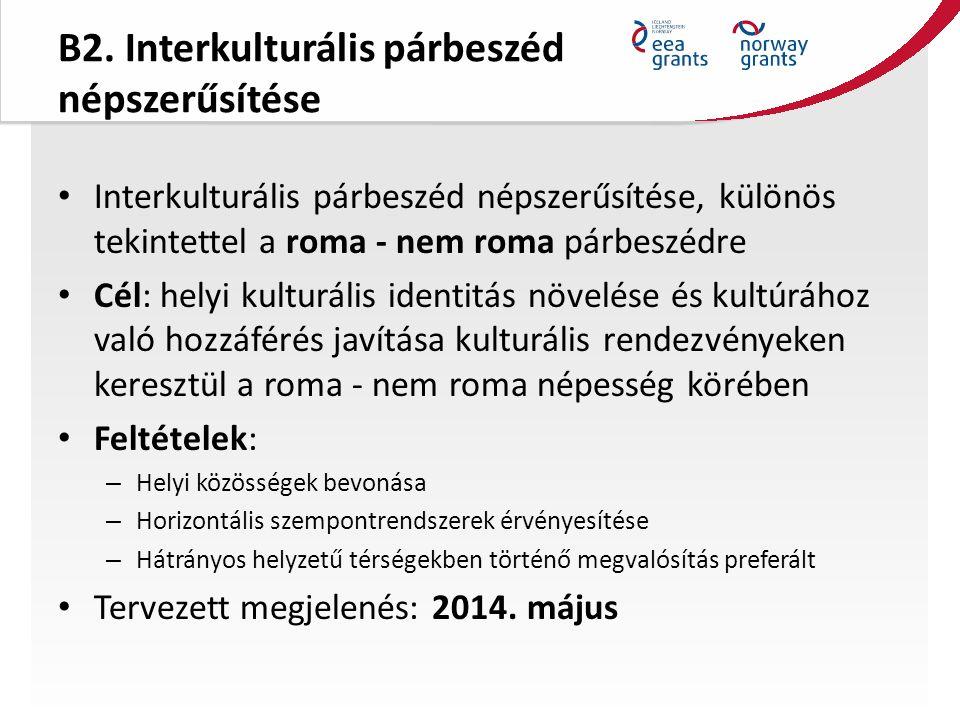 B2. Interkulturális párbeszéd népszerűsítése Interkulturális párbeszéd népszerűsítése, különös tekintettel a roma - nem roma párbeszédre Cél: helyi ku