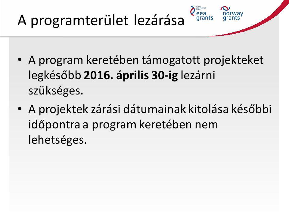 A programterület lezárása A program keretében támogatott projekteket legkésőbb 2016.