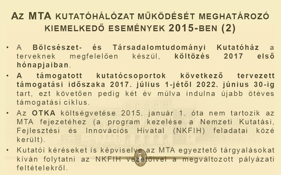 A Z MTA KUTATÓHÁLÓZAT MŰKÖDÉSÉT MEGHATÁROZÓ KIEMELKEDŐ ESEMÉNYEK 2015- BEN (2) A Bölcsészet- és Társadalomtudományi Kutatóház a terveknek megfelelően készül, költözés 2017 első hónapjaiban.
