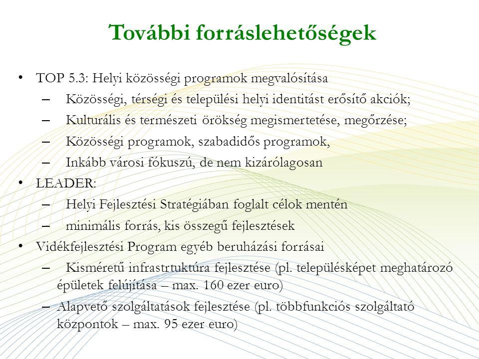 További forráslehetőségek TOP 5.3: Helyi közösségi programok megvalósítása – Közösségi, térségi és települési helyi identitást erősítő akciók; – Kulturális és természeti örökség megismertetése, megőrzése; – Közösségi programok, szabadidős programok, – Inkább városi fókuszú, de nem kizárólagosan LEADER: – Helyi Fejlesztési Stratégiában foglalt célok mentén – minimális forrás, kis összegű fejlesztések Vidékfejlesztési Program egyéb beruházási forrásai – Kisméretű infrastrtuktúra fejlesztése (pl.