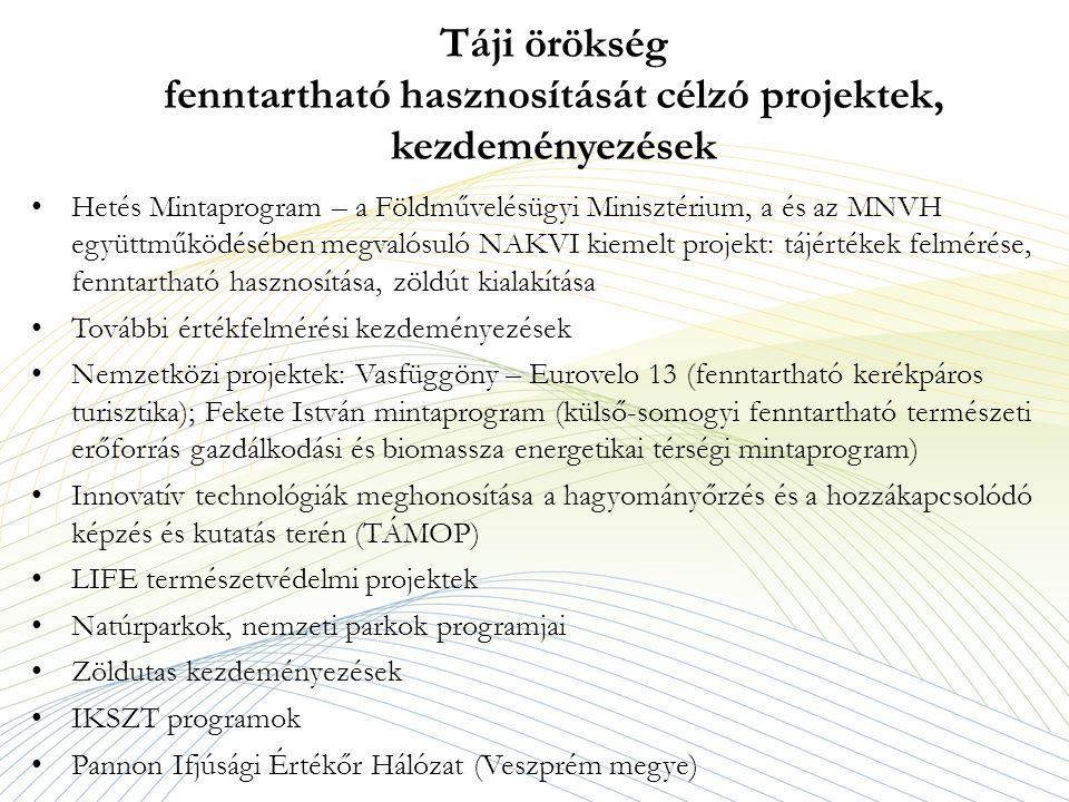 Táji örökség fenntartható hasznosítását célzó projektek, kezdeményezések Hetés Mintaprogram – a Földművelésügyi Minisztérium, a és az MNVH együttműködésében megvalósuló NAKVI kiemelt projekt: tájértékek felmérése, fenntartható hasznosítása, zöldút kialakítása További értékfelmérési kezdeményezések Nemzetközi projektek: Vasfüggöny – Eurovelo 13 (fenntartható kerékpáros turisztika); Fekete István mintaprogram (külső-somogyi fenntartható természeti erőforrás gazdálkodási és biomassza energetikai térségi mintaprogram) Innovatív technológiák meghonosítása a hagyományőrzés és a hozzákapcsolódó képzés és kutatás terén (TÁMOP) LIFE természetvédelmi projektek Natúrparkok, nemzeti parkok programjai Zöldutas kezdeményezések IKSZT programok Pannon Ifjúsági Értékőr Hálózat (Veszprém megye)