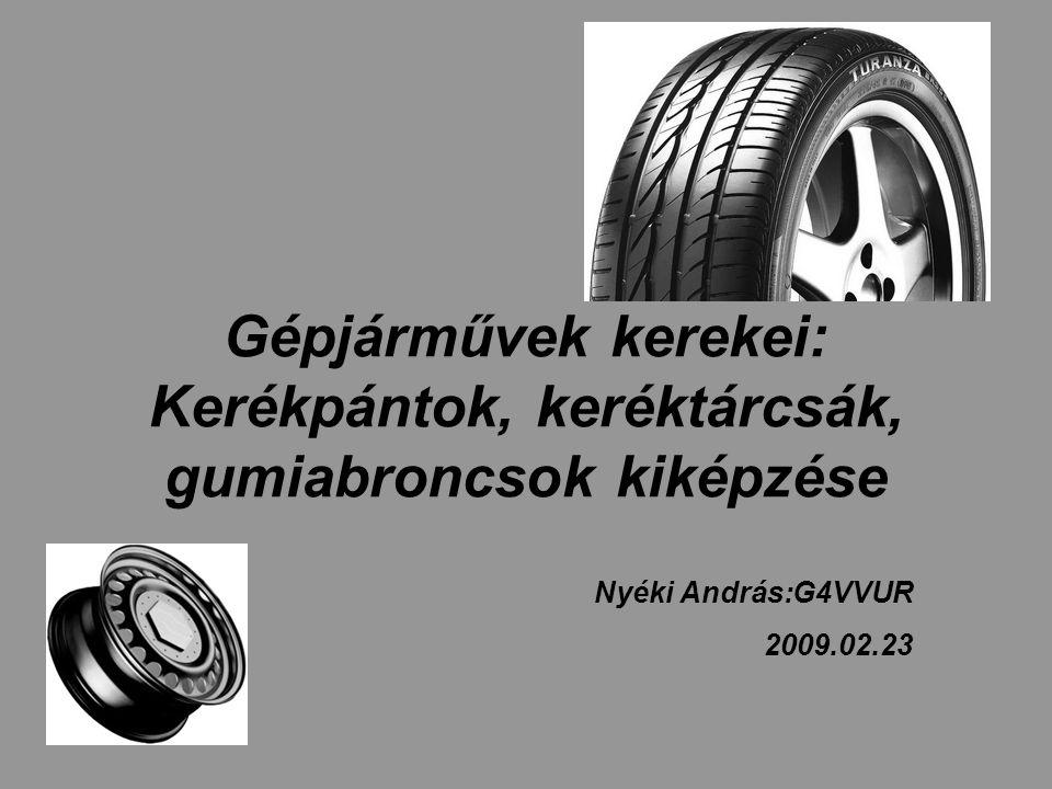 Gépjárművek kerekei: Kerékpántok, keréktárcsák, gumiabroncsok kiképzése Nyéki András:G4VVUR 2009.02.23