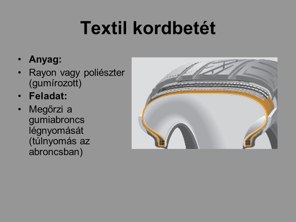 Textil kordbetét Anyag: Rayon vagy poliészter (gumírozott) Feladat: Megőrzi a gumiabroncs légnyomását (túlnyomás az abroncsban)