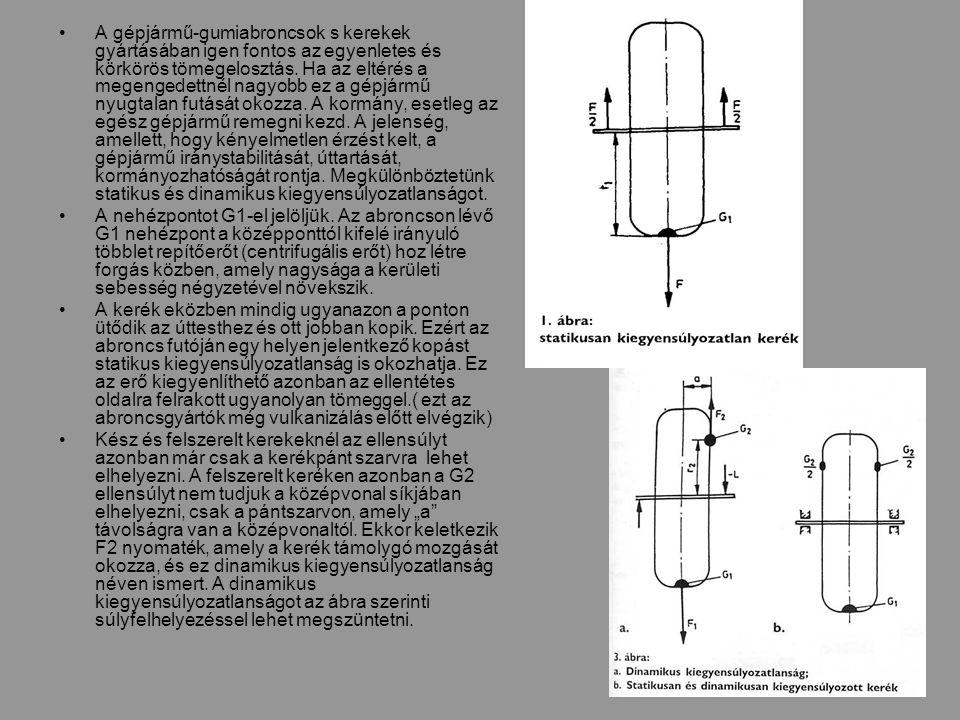 A gépjármű-gumiabroncsok s kerekek gyártásában igen fontos az egyenletes és körkörös tömegelosztás.