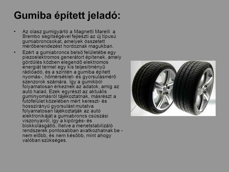 Gumiba épített jeladó: Az olasz gumigyártó a Magnetti Marelli a Brembo segítségével fejleszti az új típusú gumiabroncsokat, amelyek összetett mérőberendezést hordoznak magukban.