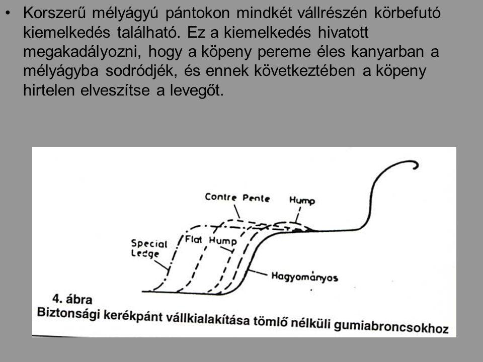 Korszerű mélyágyú pántokon mindkét vállrészén körbefutó kiemelkedés található.