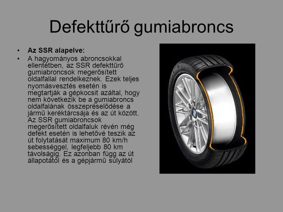 Defekttűrő gumiabroncs Az SSR alapelve: A hagyományos abroncsokkal ellentétben, az SSR defekttűrő gumiabroncsok megerősített oldalfallal rendelkeznek.