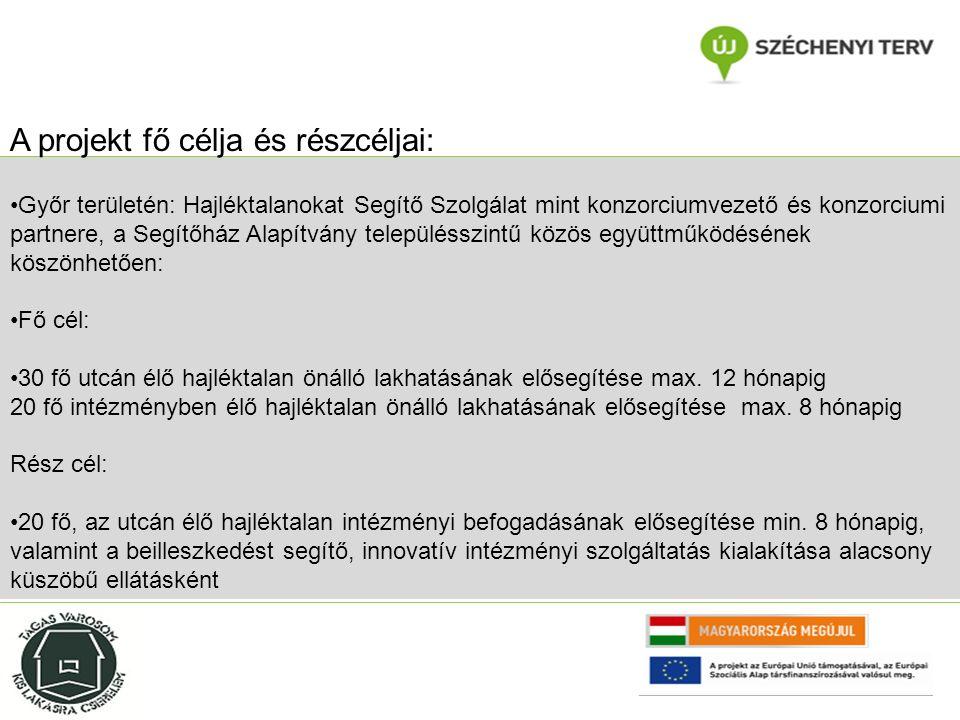 Győr területén: Hajléktalanokat Segítő Szolgálat mint konzorciumvezető és konzorciumi partnere, a Segítőház Alapítvány településszintű közös együttműködésének köszönhetően: Fő cél: 30 fő utcán élő hajléktalan önálló lakhatásának elősegítése max.