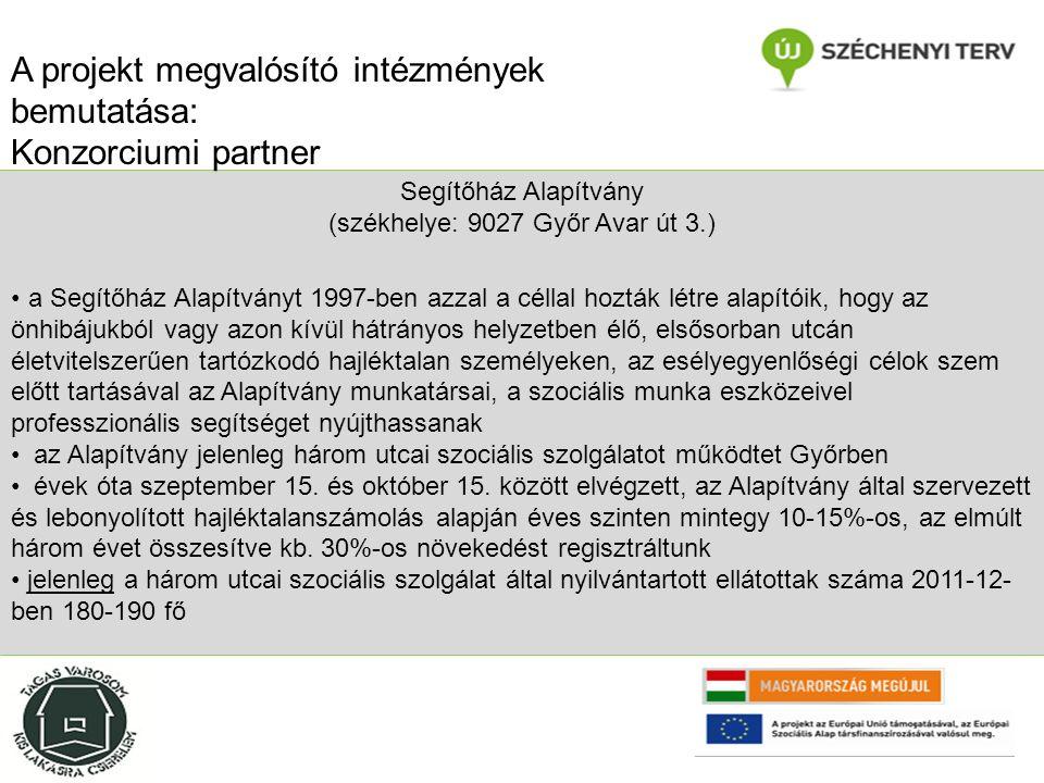 Segítőház Alapítvány (székhelye: 9027 Győr Avar út 3.) a Segítőház Alapítványt 1997-ben azzal a céllal hozták létre alapítóik, hogy az önhibájukból vagy azon kívül hátrányos helyzetben élő, elsősorban utcán életvitelszerűen tartózkodó hajléktalan személyeken, az esélyegyenlőségi célok szem előtt tartásával az Alapítvány munkatársai, a szociális munka eszközeivel professzionális segítséget nyújthassanak az Alapítvány jelenleg három utcai szociális szolgálatot működtet Győrben évek óta szeptember 15.