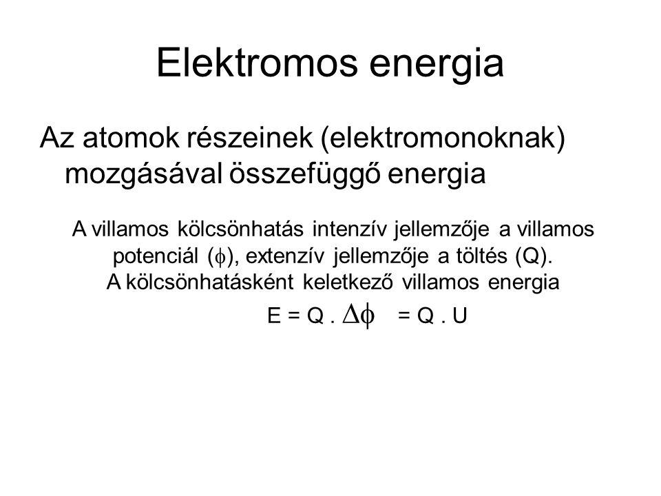 Elektromos energia Az atomok részeinek (elektromonoknak) mozgásával összefüggő energia A villamos kölcsönhatás intenzív jellemzője a villamos potenciá