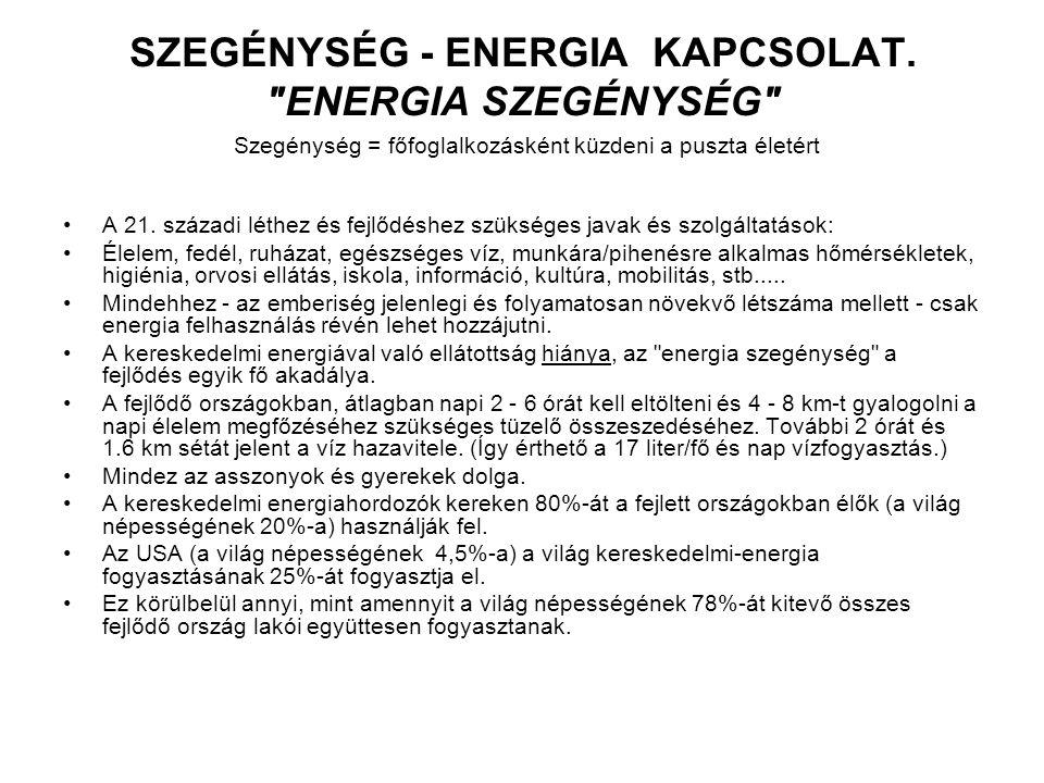 SZEGÉNYSÉG - ENERGIA KAPCSOLAT.