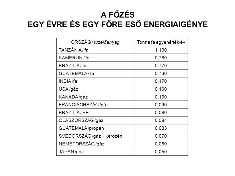 A FŐZÉS EGY ÉVRE ÉS EGY FŐRE ESŐ ENERGIAIGÉNYE ORSZÁG / tüzelőanyagTonna fa egyenérték/év TANZÁNIA / fa1,100 KAMERUN / fa0,780 BRAZILIA / fa0,770 GUATEMALA / fa0,730 INDIA /fa0,470 USA /gáz0,160 KANADA /gáz0,130 FRANCIAORSZÁG /gáz0,090 BRAZILIA / PB0,090 OLASZORSZÁG /gáz0,084 GUATEMALA /propán0,083 SVÉDORSZÁG /gáz + kerozén0,070 NÉMETORSZÁG /gáz0,060 JAPÁN /gáz0,050
