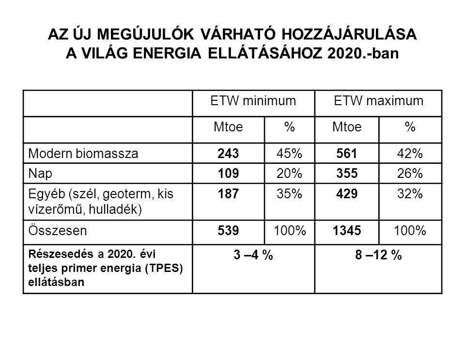 AZ ÚJ MEGÚJULÓK VÁRHATÓ HOZZÁJÁRULÁSA A VILÁG ENERGIA ELLÁTÁSÁHOZ 2020.-ban ETW minimumETW maximum Mtoe% % Modern biomassza24345%56142% Nap10920%35526% Egyéb (szél, geoterm, kis vízerőmű, hulladék) 18735%42932% Összesen539100%1345100% Részesedés a 2020.