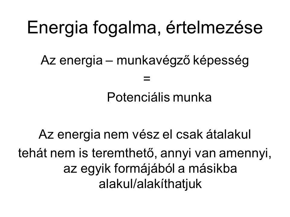 Energia fogalma, értelmezése Az energia – munkavégző képesség = Potenciális munka Az energia nem vész el csak átalakul tehát nem is teremthető, annyi van amennyi, az egyik formájából a másikba alakul/alakíthatjuk