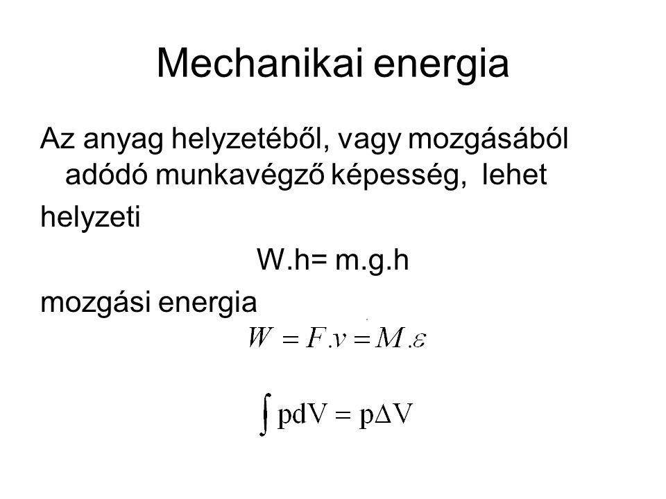 Mechanikai energia Az anyag helyzetéből, vagy mozgásából adódó munkavégző képesség, lehet helyzeti W.h= m.g.h mozgási energia