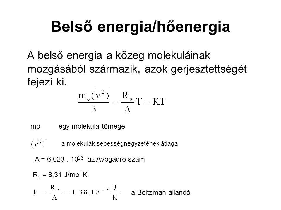 Belső energia 2 A molekulák mozgásának külső érzékelhetősége a hőmérséklet Q =  T ds = A hő értelmezésében intenzív jellemző a T hőmérséklet mint állapothatározó Az entrópia (S) a hő extenzív mennyisége illetve (  S) az entrópia változás.