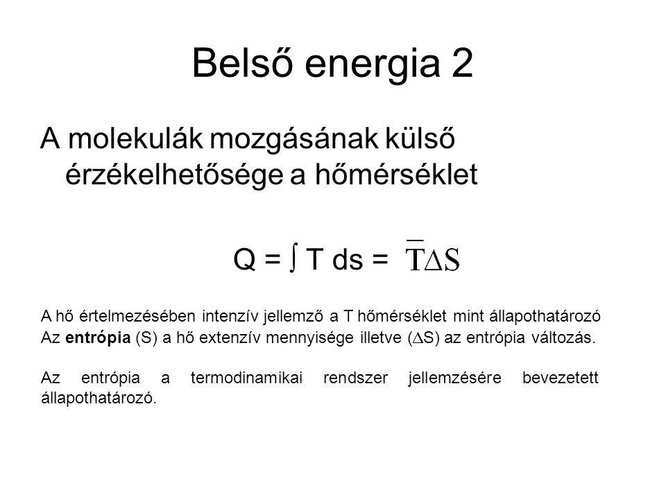 Belső energia 2 A molekulák mozgásának külső érzékelhetősége a hőmérséklet Q =  T ds = A hő értelmezésében intenzív jellemző a T hőmérséklet mint áll