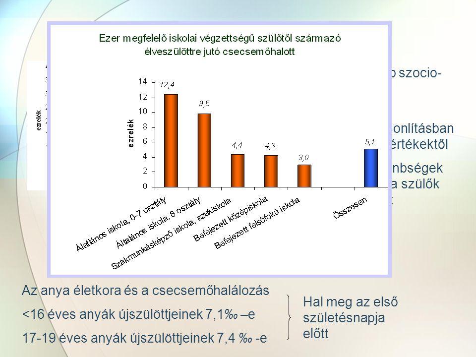 Csecsemőhalálozás Csecsemőhalálozás Magyarországon, 1970–2009 (‰) Az egyik legfontosabb szocio- kulturális mutató Évek óta csökken, de nemzetközi összehasonlításban elmarad a jó európai értékektől Jelentős földrajzi különbségek az országon belül és a szülők iskolázottsága szerint Az anya életkora és a csecsemőhalálozás <16 éves anyák újszülöttjeinek 7,1‰ –e 17-19 éves anyák újszülöttjeinek 7,4 ‰ -e Hal meg az első születésnapja előtt