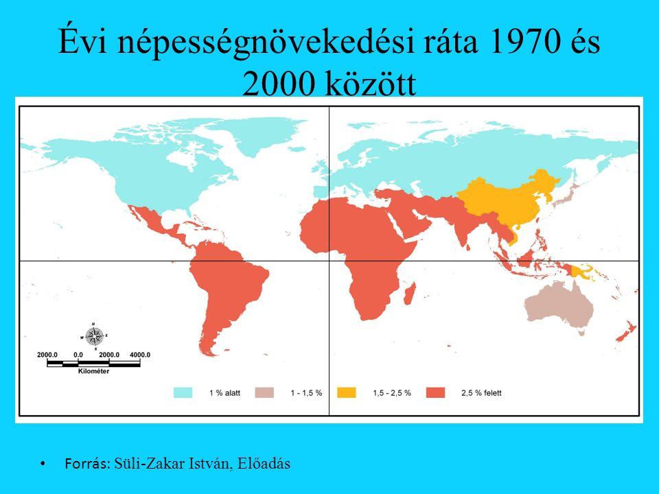 Évi népességnövekedési ráta 1970 és 2000 között Forrás: Süli-Zakar István, Előadás