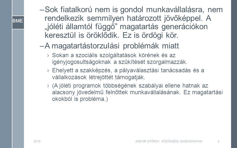 2013ANDOR GYÖRGY: KÖZÖSSÉGI GAZDASÁGTAN35 BME Egy munkásra eső kibocsátás y k Egy munkásra eső tőkeállomány f(k)f(k) δ(k)