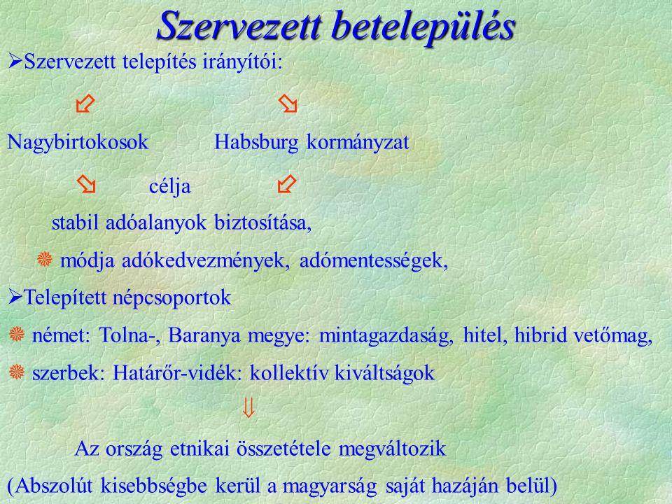  Szervezett telepítés irányítói:   Nagybirtokosok Habsburg kormányzat  célja  stabil adóalanyok biztosítása,  módja adókedvezmények, adómentességek,  Telepített népcsoportok  német: Tolna-, Baranya megye: mintagazdaság, hitel, hibrid vetőmag,  szerbek: Határőr-vidék: kollektív kiváltságok  Az ország etnikai összetétele megváltozik (Abszolút kisebbségbe kerül a magyarság saját hazáján belül) Szervezett betelepülés