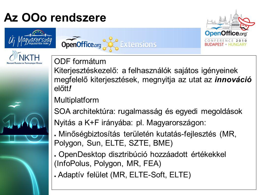 Az OOo rendszere ODF formátum Kiterjesztéskezelő: a felhasználók sajátos igényeinek megfelelő kiterjesztések, megnyitja az utat az innováció előtt.