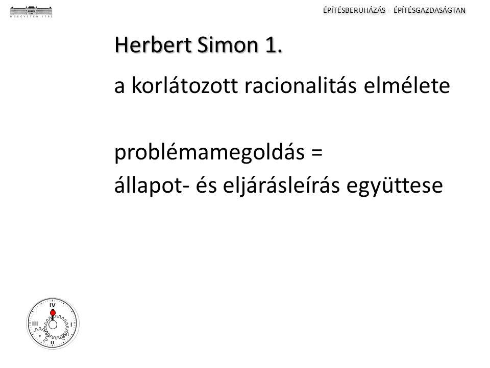 ÉPÍTÉSBERUHÁZÁS - ÉPÍTÉSGAZDASÁGTAN I II III IV Herbert Simon 1.