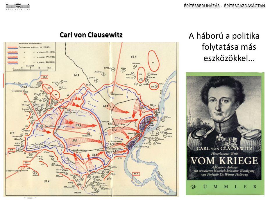 ÉPÍTÉSBERUHÁZÁS - ÉPÍTÉSGAZDASÁGTAN I II III IV Carl von Clausewitz A háború a politika folytatása más eszközökkel...